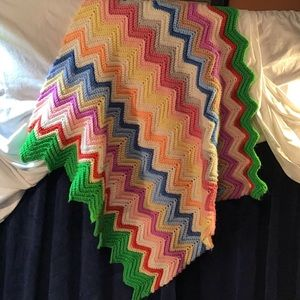 Hand knit blanket/throw/afghan, beautiful!